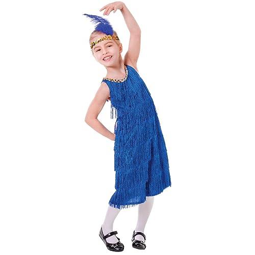 Girls 1920s Blue Charleston Flapper Great Gatsby Fancy Dress Costume Book Day