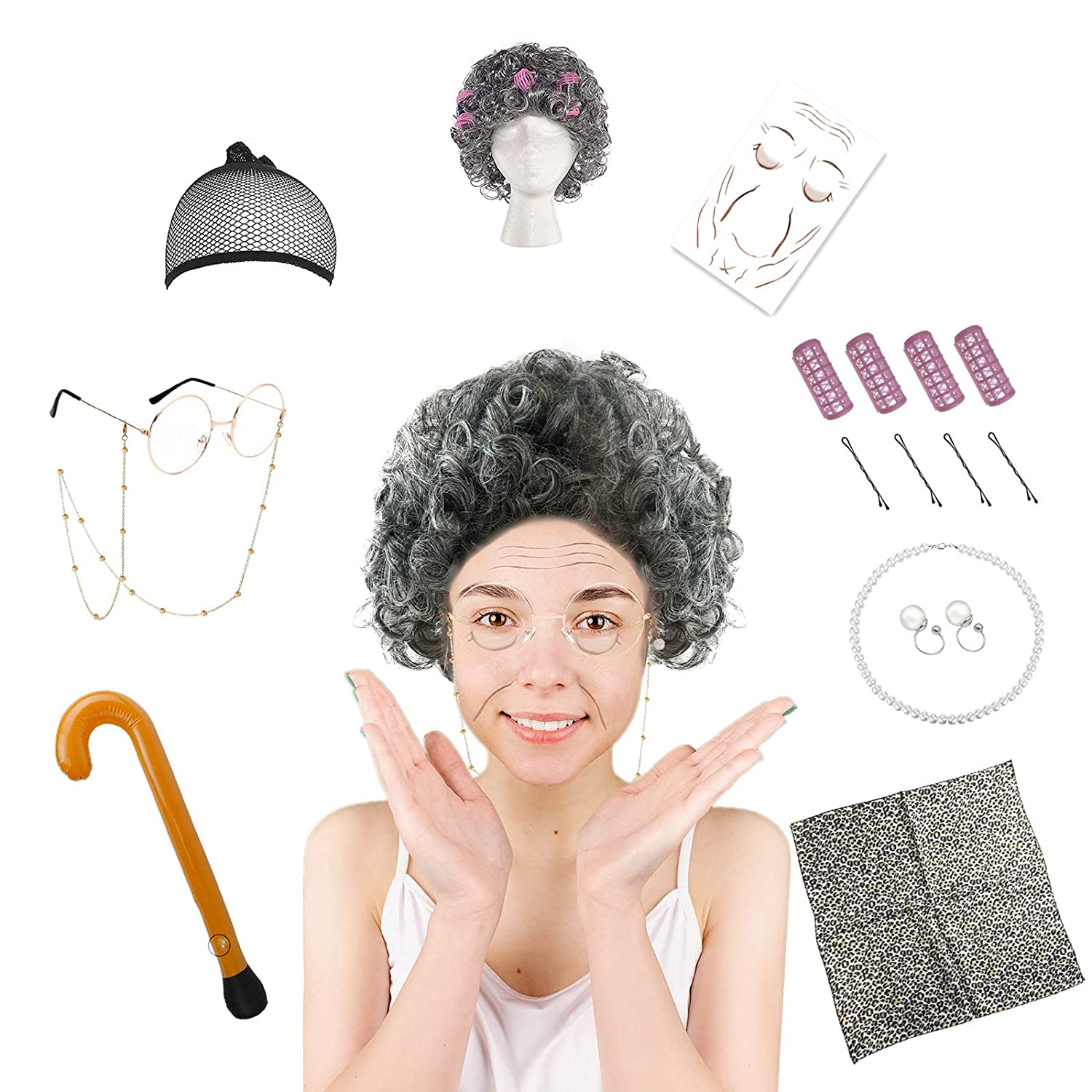 Old Lady Costume for Women Gray Glasses Grandma Product wigs Granny Max 80% OFF Acc