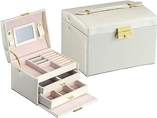 Boîte à Bijoux boîte à Bijoux en Cuir Collier Bague âge Bijoux boîte d'âge avec Miroir Bijoux boîte d'âge Accessoires sûr ...