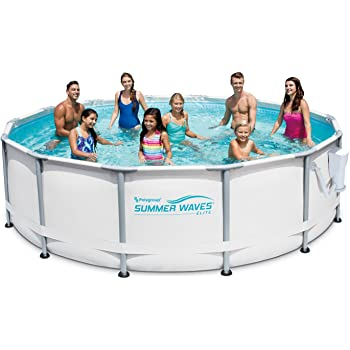 """Summer Waves Elite 14' x 42"""" Premium Frame Above Ground Swimming Pool with Filter Pump System And Deluxe Accessory Set"""