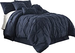 Chezmoi Collection Com-Navy-Cal Sydney 7-Piece Pintuck Bedding Comforter Set (California King