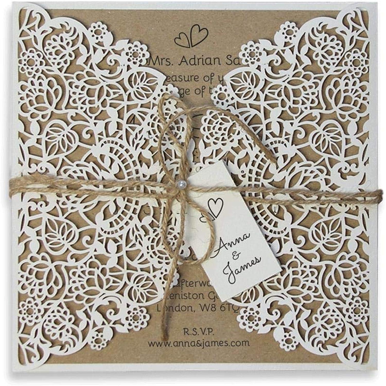 Lasergeschnittene Hochzeit Einladungskarten (50 (50 (50 Stück) DIY- Rustikal mit weißer Spitze - Hochzeitskartenn  KuGrün  unabhängiges Drucken B07Q16XYPK  | Großhandel  70203d