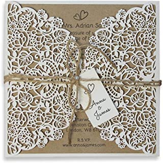Rustic Wedding Invitations with Envelopes Laser Cut DIY Kit Kraft Square Bohemian Boho Invitation Cards Affordable Twine Ribbon Jute String - PRE-PRINTED SAMPLE!