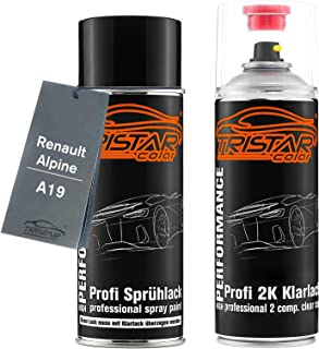 TRISTARcolor Autolack 2K Spraydosen Set für Renault/Alpine A19 Bege Angora Metallic/Beige Angora Metallic Basislack 2 Komponenten Klarlack Sprühdose