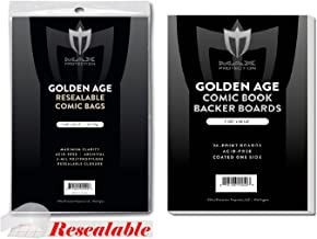 (100) RESEALABLE GOLDEN AGE Size Ultra Clear Comic Book Bags and Boards - by Max Pro (Qty= 100 Bags and 100 Boards)