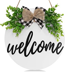 VIEFIN Welcome Wreath Sign for Farmhouse Front Porch Decor,3D Round Wood Sign with Greenery,Rustic Welcome Home Sign Porch Hanging Front Door Decorations,White