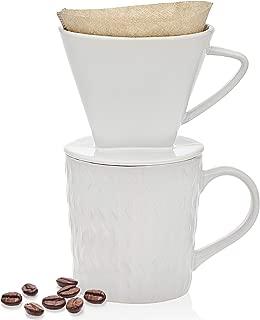 Godinger Pour Over Coffee Maker Dripper and Coffee Mug Brew Set, Bone China - 14oz