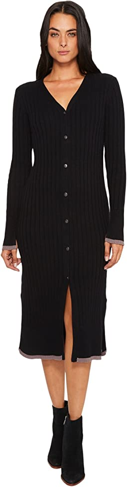 Michael Stars - Cotton Knit Long Sleeve Ribbed Cardigan and Dress