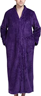 Previn Men's Luxury Zip Full Length Dressing Gown Waffle Bathrobe Fluffy Nightwear Sleepwear