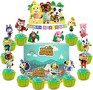 28 Toppers for Animal Crossing Cake Topper Cupcake Toppers, Cute Animal Happy Birthday Cake Toppers, Cake Decorations for ...