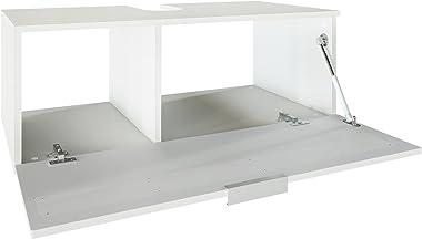 Vladon Waschtisch Waschbecken Unterschrank Aloha V2, Korpus in Weiß matt/Fronten in Weiß Hochglanz mit Absetzungen in Weiß Ho