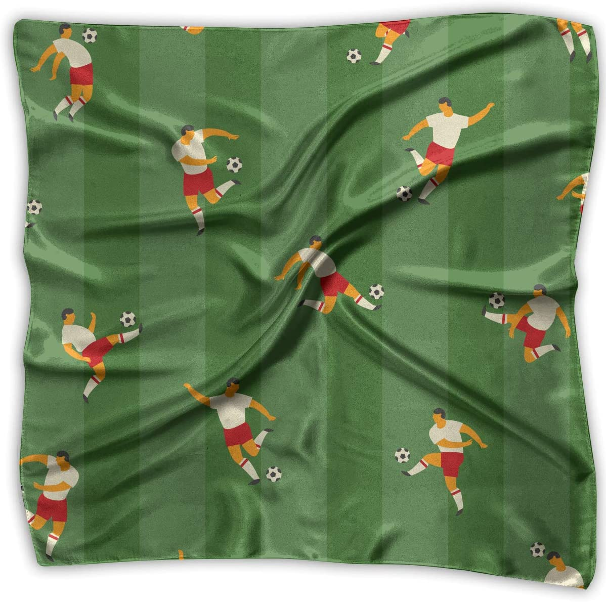 YANGZXC Cartoon Soccer Player Handkerchief Polyester Pocket Square Mulipurpose Silk Bandanas Delicate Printing