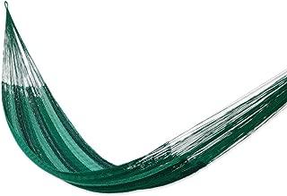 NOVICA Green Striped Nylon 1 Person Mayan Style Rope Hammock 'Caribbean Dream' (Single)