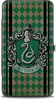 "Buckle-Down Unisex-Adult's Hinge Wallet-Slytherin Crest Stripes/Diamonds Greens/Black, Multicolor, 7"" x 4"""