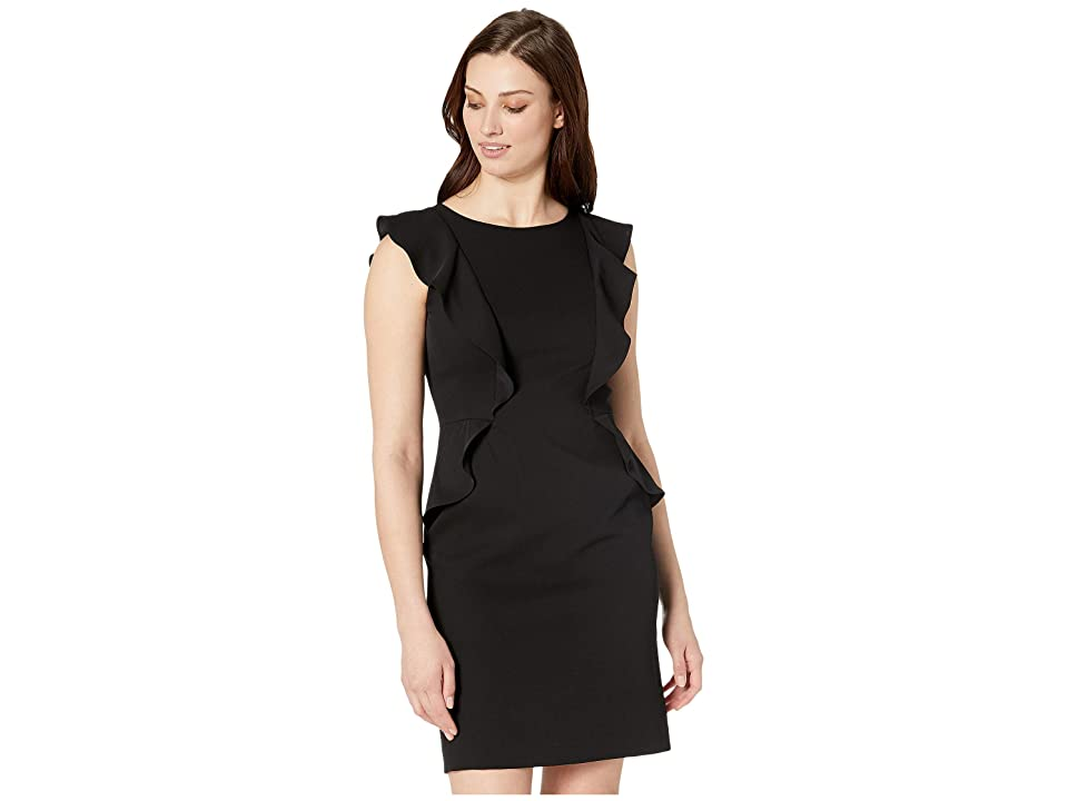 Anne Klein Flutter Sleeve Crepe Sheath Dress (Anne Black) Women