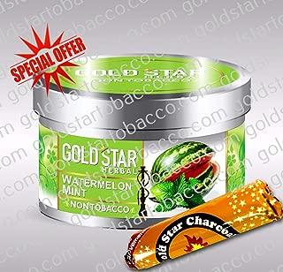 GOLDSTAR Herbal Non Tobacco Smoke Watermelon Mint Flavor Premium Hookah Shisha Nargila 200 gm + 1 Roll Goldstar Charcoal for Free
