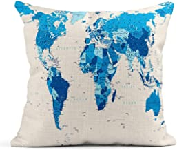 Decor Flax Throw Pillow Covers Case Spain Blue World Map Large Detailed Africa America Asia Atlantic Australia Square Cases Cushion Cover One Side Print 18