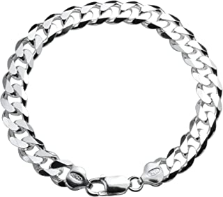 Designer Inspired 8mm Thick Silver Curb Chain Bracelet Sterling 925 Stamped 8inch 20cm