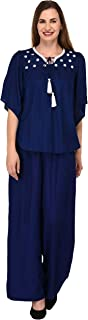 Patrorna Blended Women's Butterfly Sleeve Crop Top and Palazzo Pant Suits Set In Royal Blue (Size XS-7XL, CE602NB809NB)