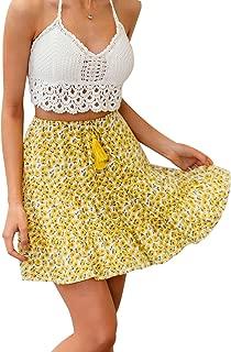 Sollinarry Women's Floral Print High Waist Ruffle Mini Skirt A-Line Pleated Short Skirt with Tassel