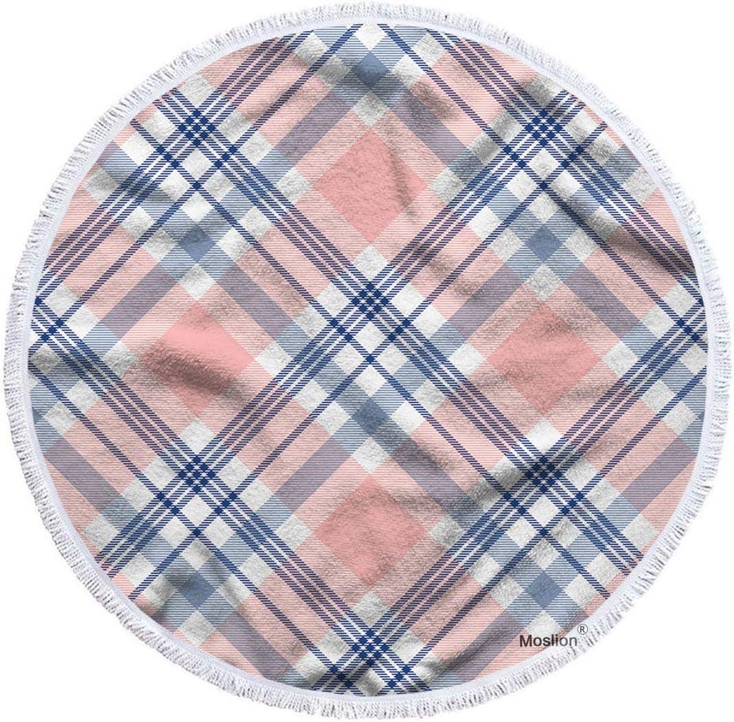 Moslion Plaid Beach Towel Blanket Pink Vintage quality assurance New sales Blue Classic Tart