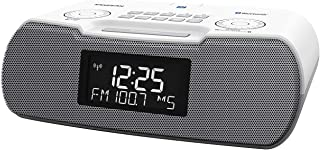Sangean RCR-20 FM-RDS (RBDS) AM/Bluetooth/Aux-in/USB Phone Charging Digital Tuning Clock Radio with Battery Backup (Gray/W...