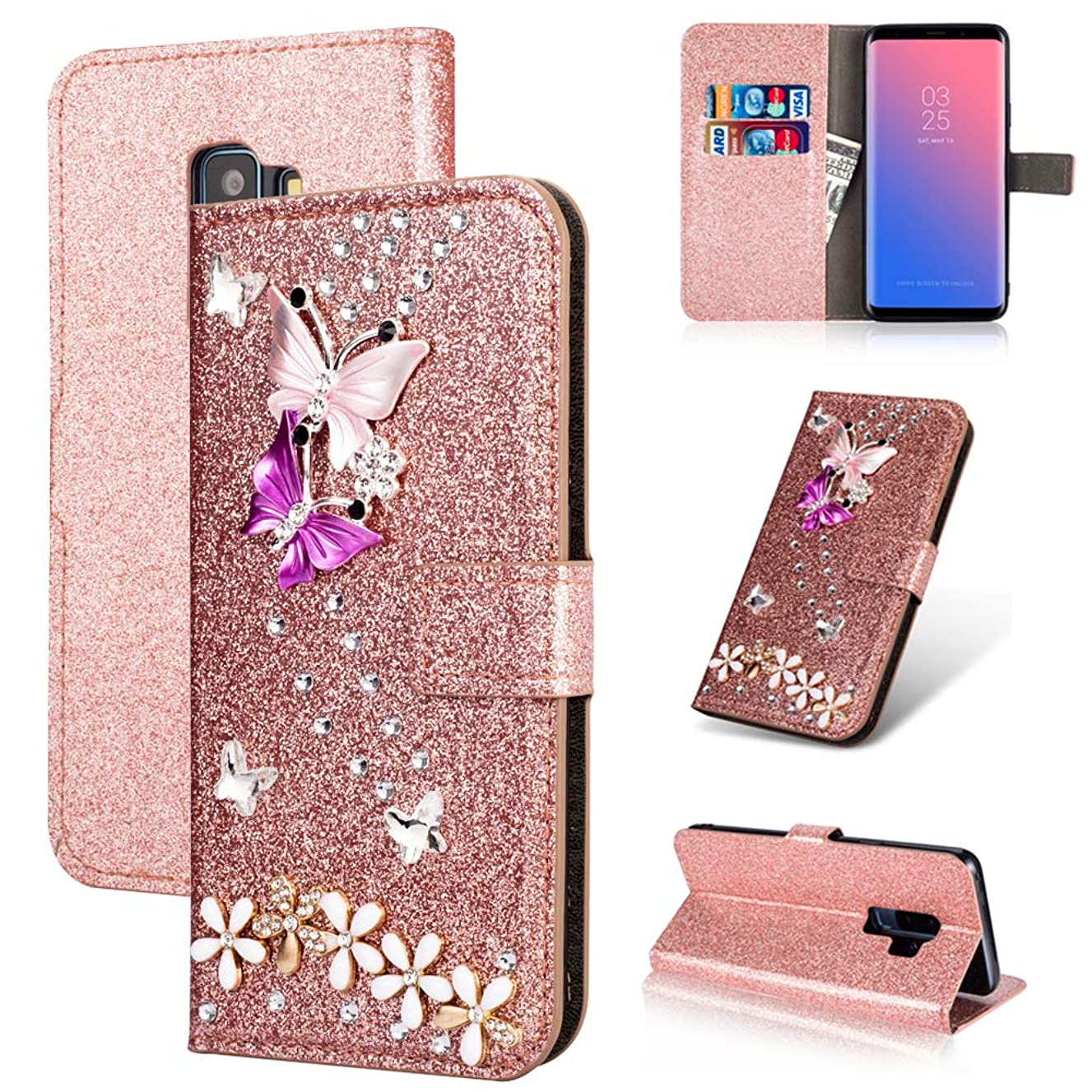 S9 Wallet Compatible with Samsung Gaxaly S9 Case Kickstand Glitter 9s Cover Girly Bling Samsum Glaxay gs9 Cover Luxury Sparkly ss9 Skins [Colorful Butterfly] [Credit Card Holder ID Slot] (Rose Gold)