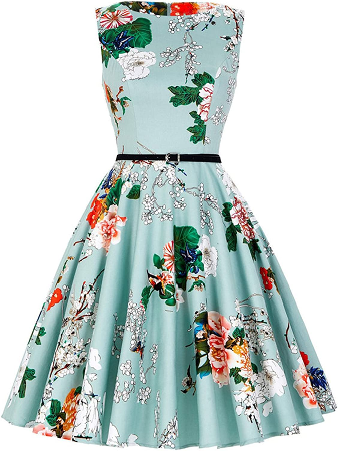 ANCHOVY Womens Vintage Sleeveless Short Prom Floral Spring Garden Tea Dress with Belt C72