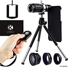 CamKix Lens + Shutter Remote Kit Compatible with Apple iPhone 6/6s + 6 Plus/6s Plus - Bluetooth Camera RC, 12x Telephoto + Fisheye + Macro + Wide Angle Lens + Tripod, Holder, Case (2X), Bag, Cloth