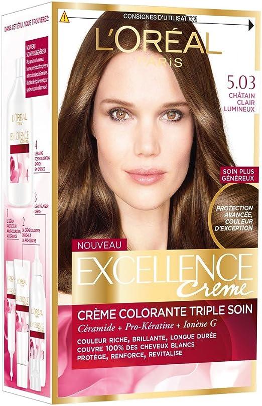LOréal Paris Excellence Tinte Castaño, tratamiento Triple ...