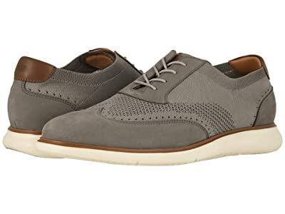 Florsheim Fuel Knit Wing Tip Oxford (Light Gray Nubuck w/ White Sole) Men