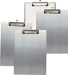 TUKA 4x A5 Porte-bloc en Aluminium, avec Pince, Haute Résistant Planchettes en Aluminium de Haute Qualité, Idéal pour le T...