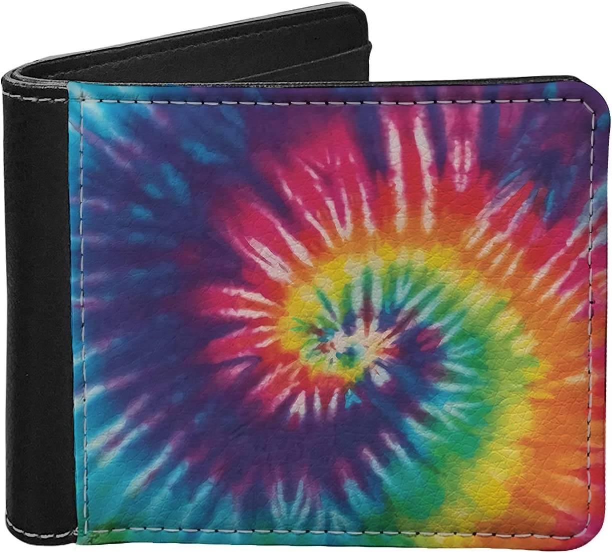 Binienty Rainbow Swirl Tie Dye Design Durable Bifold Wallets for Mens, PU Leather Flipping Wallets Billfold Purse