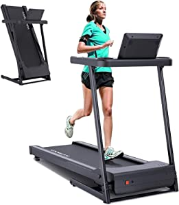 YODIMAN Folding Treadmill, caminadoras de ejercicios electrica, Electric Running Machine with 16'' Wide Tread Belt/LCD Display/Cup Holder, Easy Assembly for Home Use