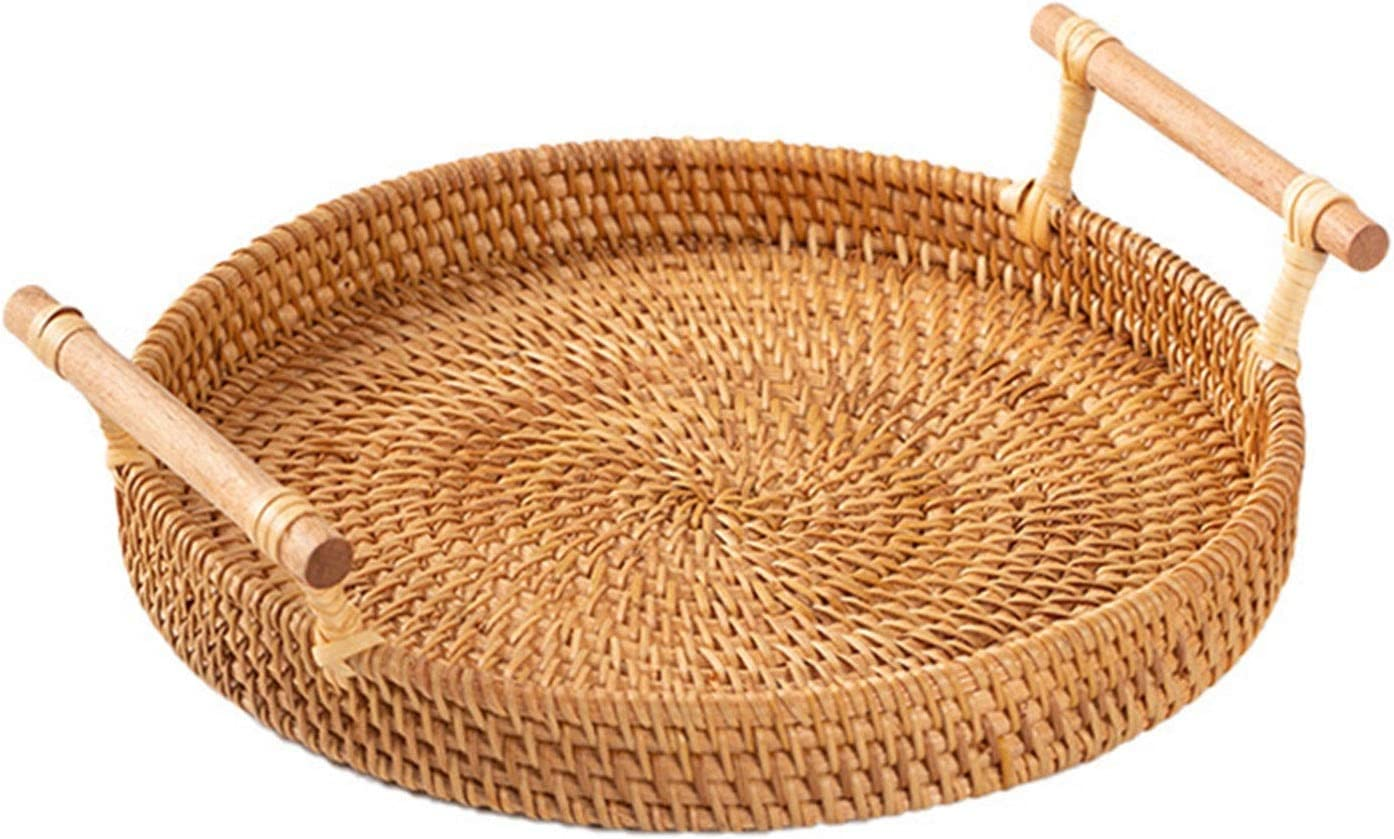teapot Handwoven Rattan Storage Tray Round with Wi Wooden Large special Free Shipping New price Handle