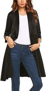 Women's Long Open Front Cardigan Jacket 3/4 Sleeve Wrap Blazer Dress Coat Outwear