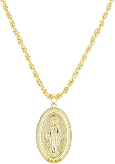18K Gold Virgin Mary Necklace - Medallion Necklace - Miraculous Medal Coin Necklace for Women Religious Necklace