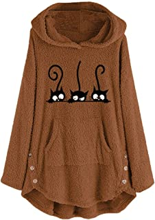 FANGTION Womens Fleece Cat Embroidery Plus Size Warm Hoodie Top Button Sweater Blouse
