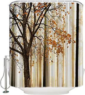 Shower Curtain for Bathroom/Home/Hotel Waterproof Bath Curtain Set with Hooks Bathroom Accessories - Picture of a Lonely Tree with Autumn Orange Leaves on an Abstract Woodland Background72