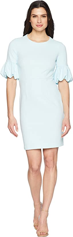 Crepe Sheath Dress with Lantern Sleeve