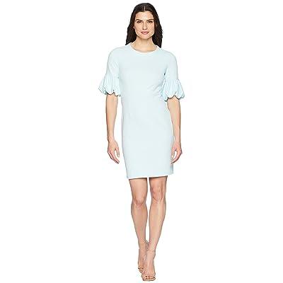 Donna Morgan Crepe Sheath Dress with Lantern Sleeve (Clear Sky) Women