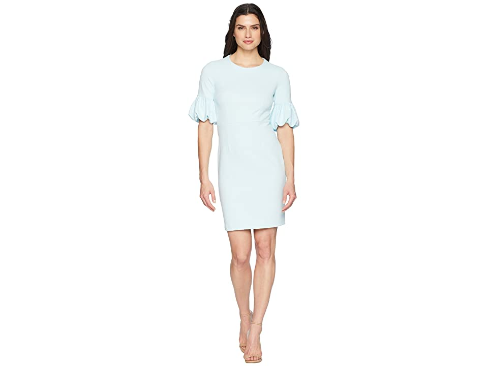 Donna Morgan Crepe Sheath Dress with Lantern Sleeve (Clear Sky) Women