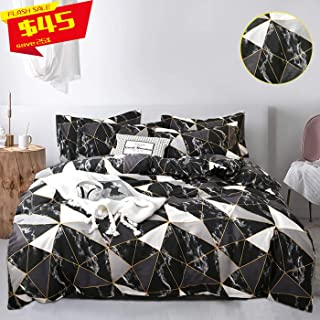 Jumeey Black Marble Duvet Cover Set Twin 100% Nature Cotton Grey Gray Black and White Comforter Cover Set Modern Golden Geometric Pattern Printed Bedding Sets for Boys,Girls,No Comforter