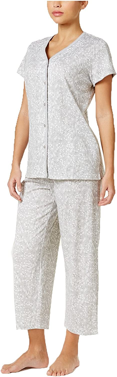 Charter Club LoopTrimmed Top and Cropped Pants Pajama Set. Size  XXLarge. color  Grey.