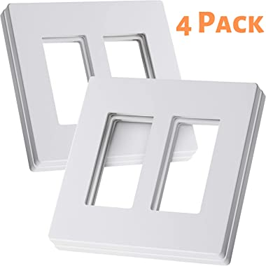 Bates- Screwless Decorator Wall Plates, Two Gang Switch Plate Covers, 4 Pack, Screwless Wall Plates 2 Gang, White Switch Plate Covers, Switch Cover Plate, Wall Switch Cover, Electrical Outlet Cover