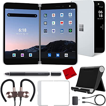 Microsoft Surface Duo 256GB AT&T Locked, Glacier TGM-00001 Bundle with Wacom KP13300D Ballpoint Pen + Deco Gear Wireless Earbuds + Tablet Stand & More