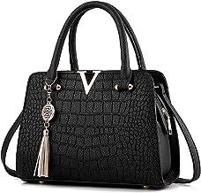 URAQT Sac à Main Femme Bandoulière Sac, Pochette Sac portés Main en PU (#13 Noir + Accessoires)