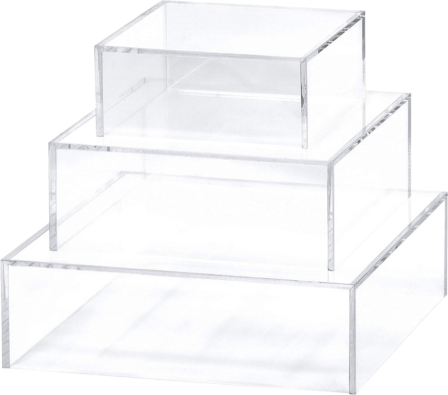 Red Co 3-Pack Crystal Clear Small Acrylic Cubic Display Riser Stands with Hollow Bottoms Transparent