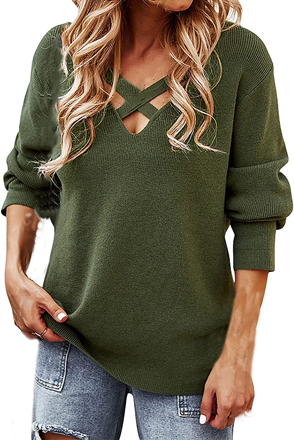 Akklian Long Sleeve Shirts for Women Solid Tees Autumn Casual Sexy V Neck Cross Strap Fashion Sweater Blouse Tunic Tops