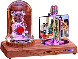 Luz De Foto Lámpara Bluetooth Personalizada Luz De Música Con 4 Imágenes Flor Rosa Rectángulo Álbum De Fotos Aniversario Cumpleaños Regalo Genial(Oso De Cristal 18 * 20CM/7.1 * 7.9IN)